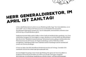 Herr Generaldirektor, im April ist Zahltag!